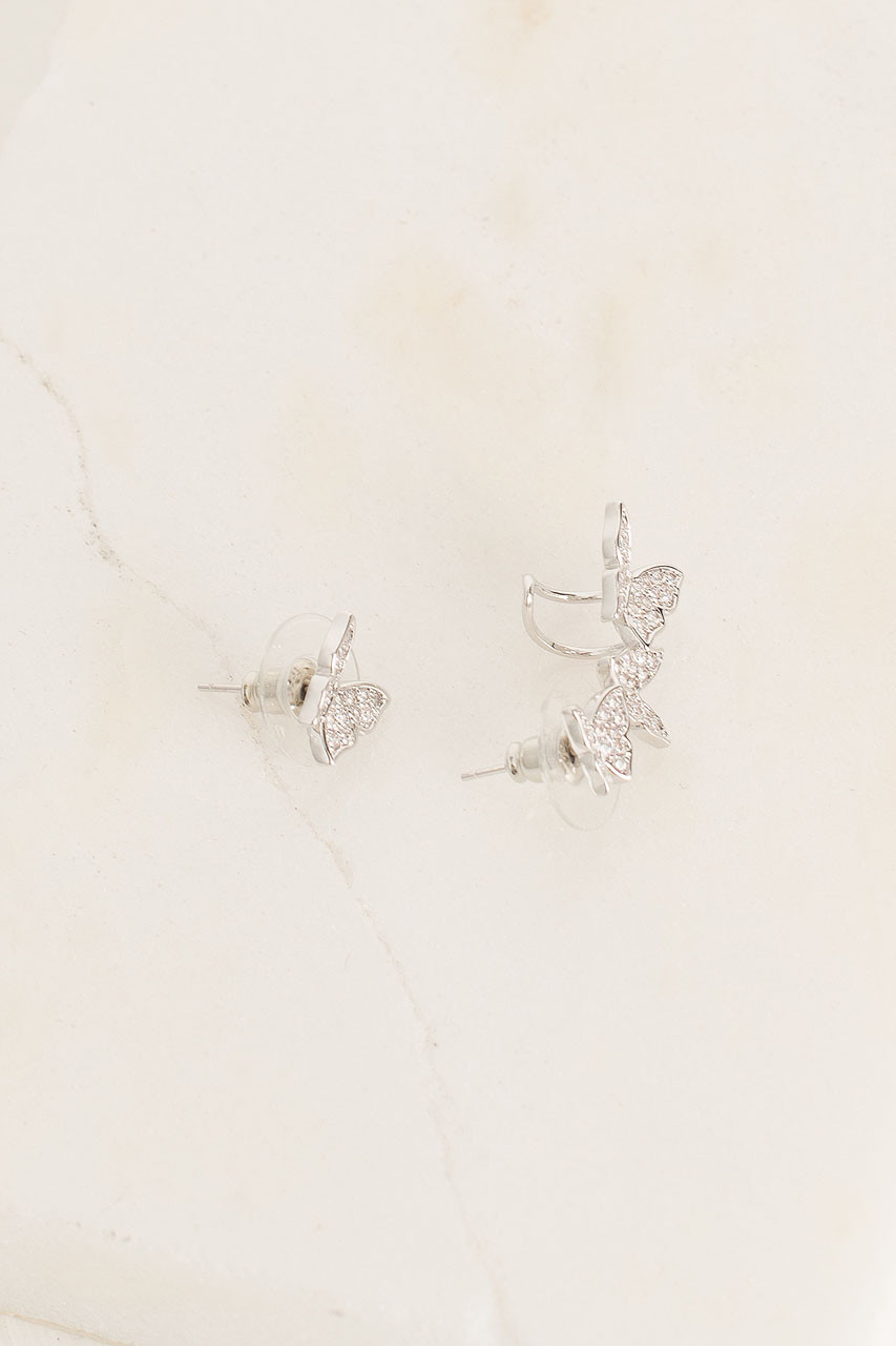 Butterfly Earring And Ear Cuff, Silver Plated