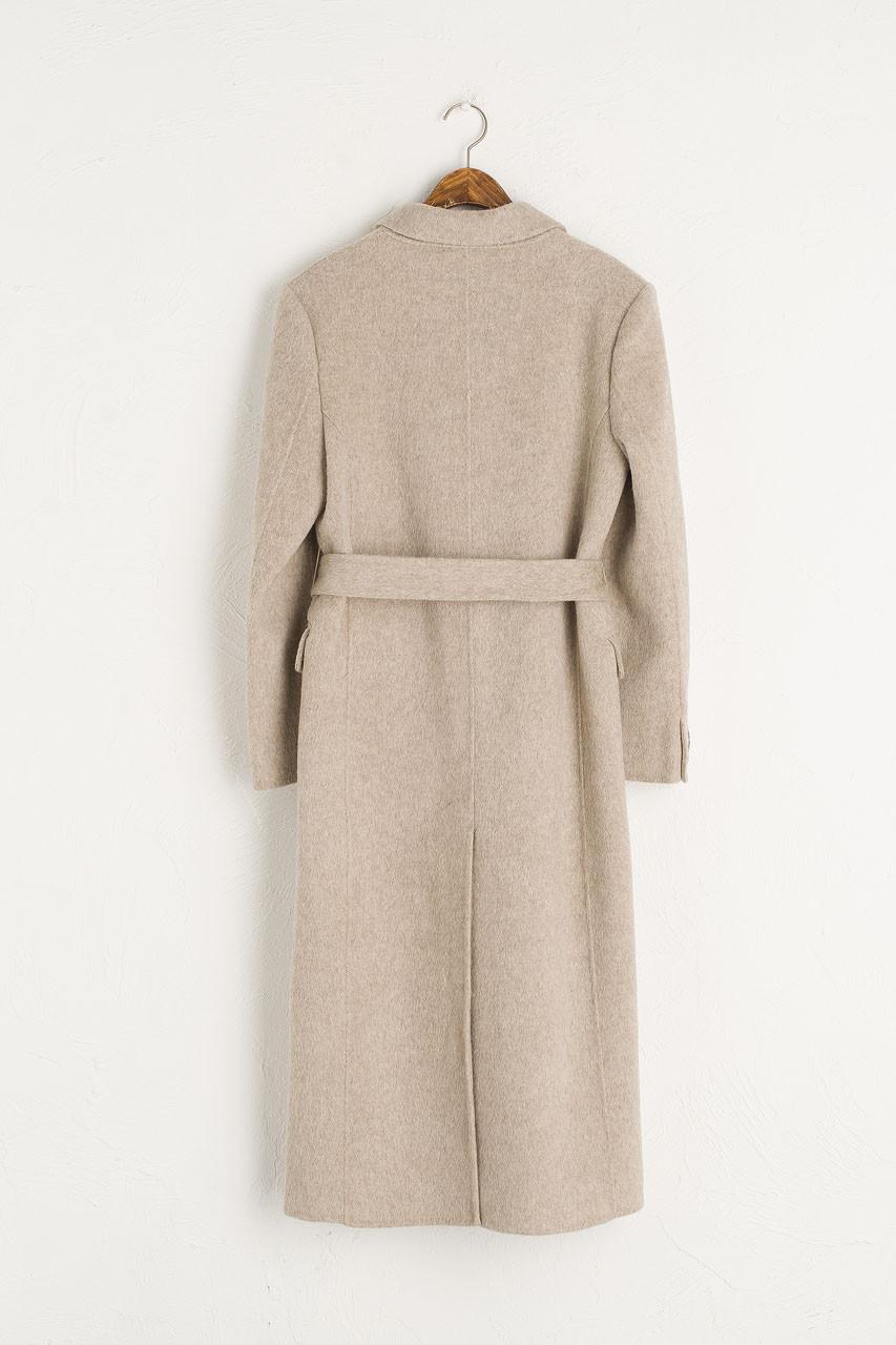 Double Button Long Coat, Brown