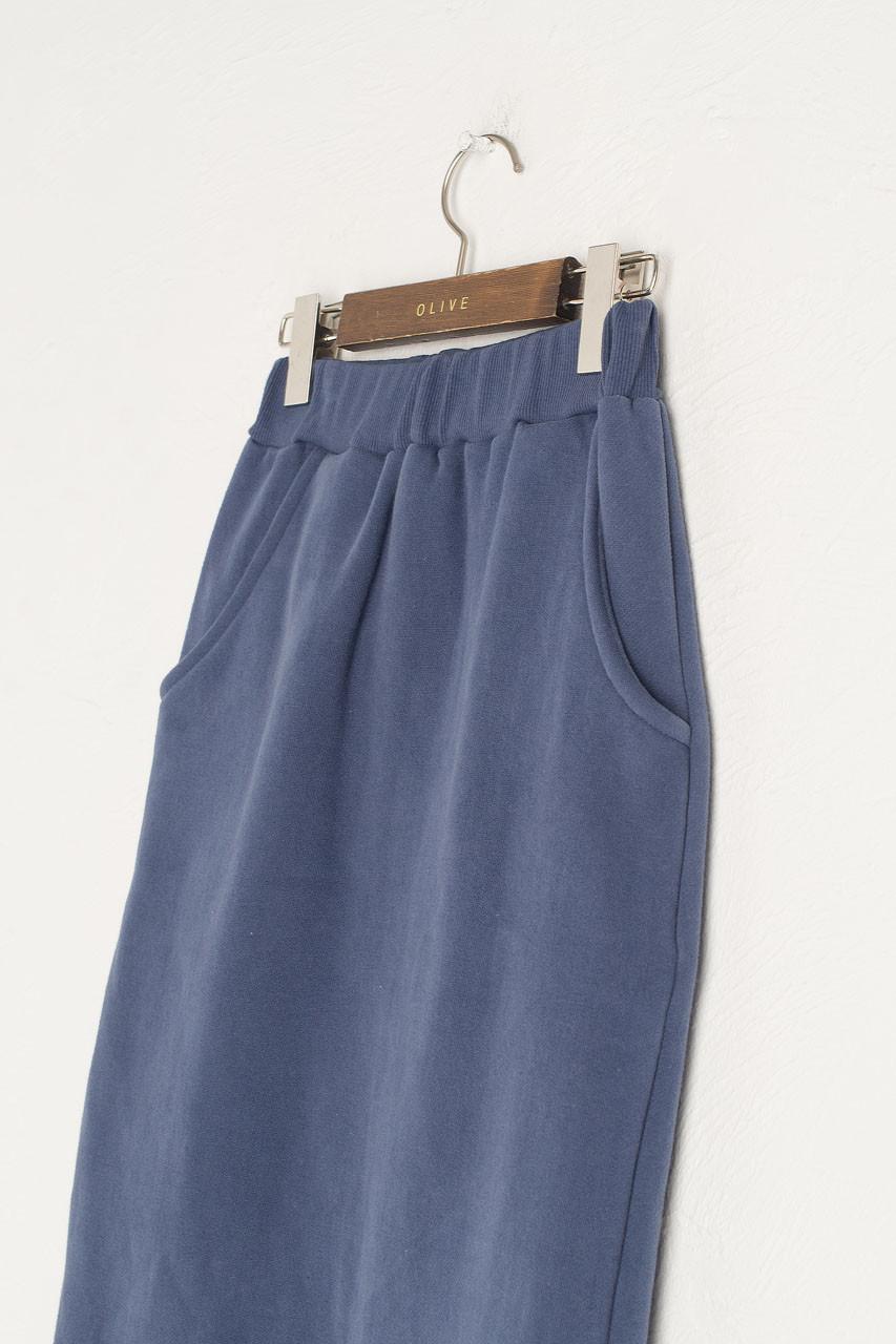Anna Fleece Skirt, Mid Blue