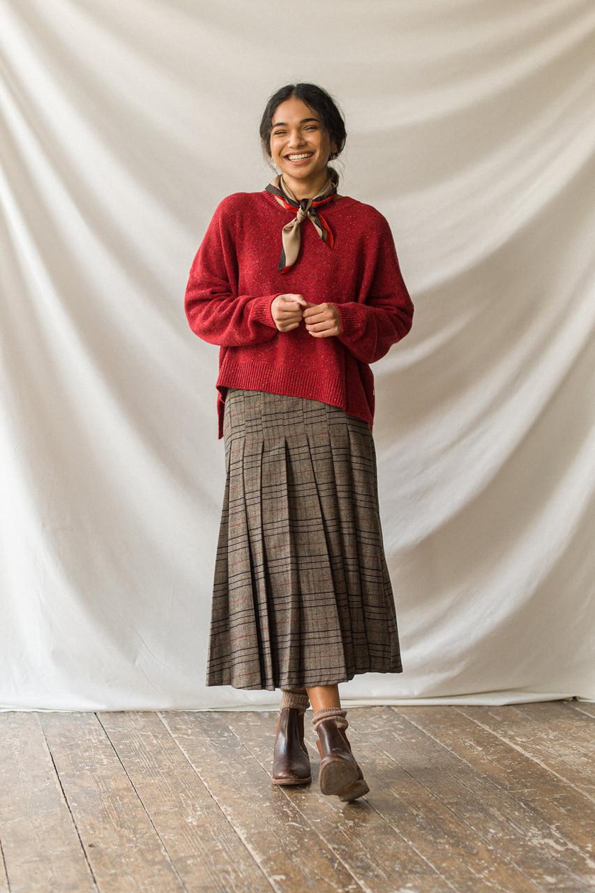 Gabrielle Wool Blend Check Skirt, Brown