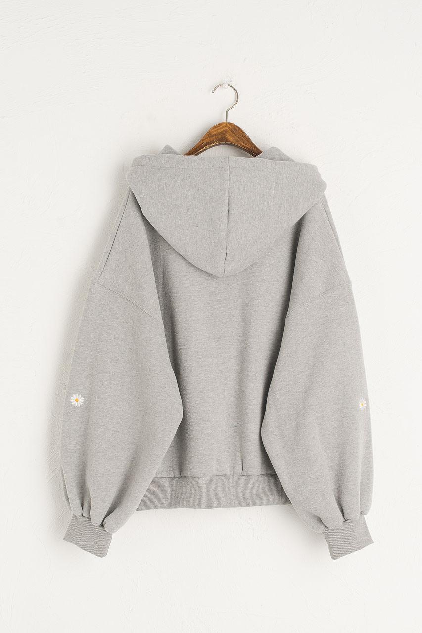 Fleece Daisy Zip Up Hoody, Grey