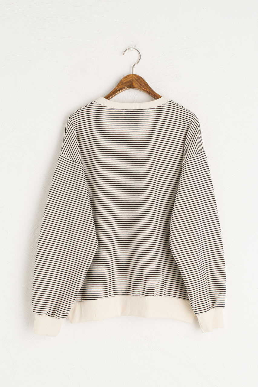 Fleece Daisy Stripe Sweatshirt, Ivory