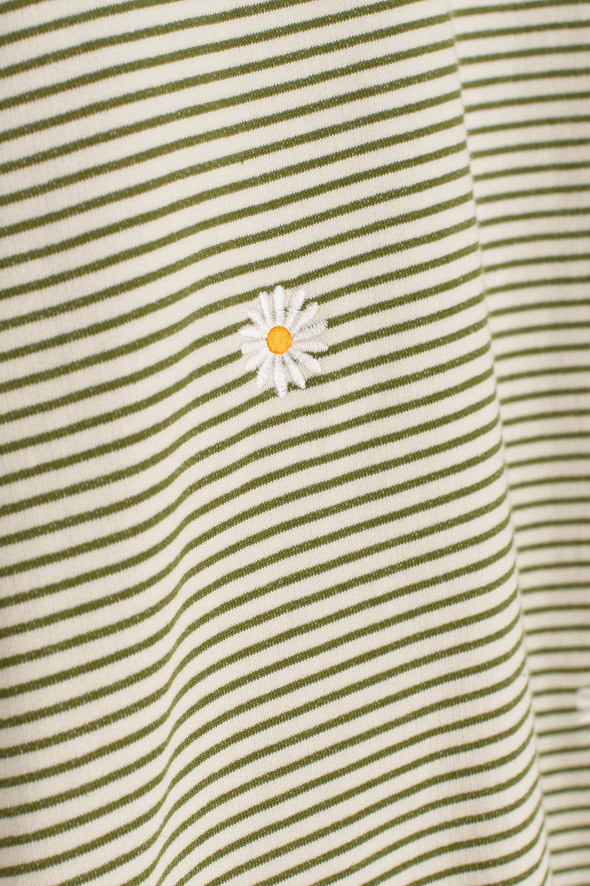Fleece Daisy Stripe Sweatshirt, Khaki