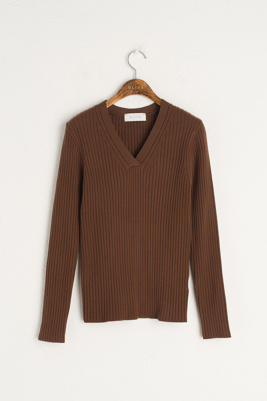 Leah Ribbed V Neck Knit, Brown