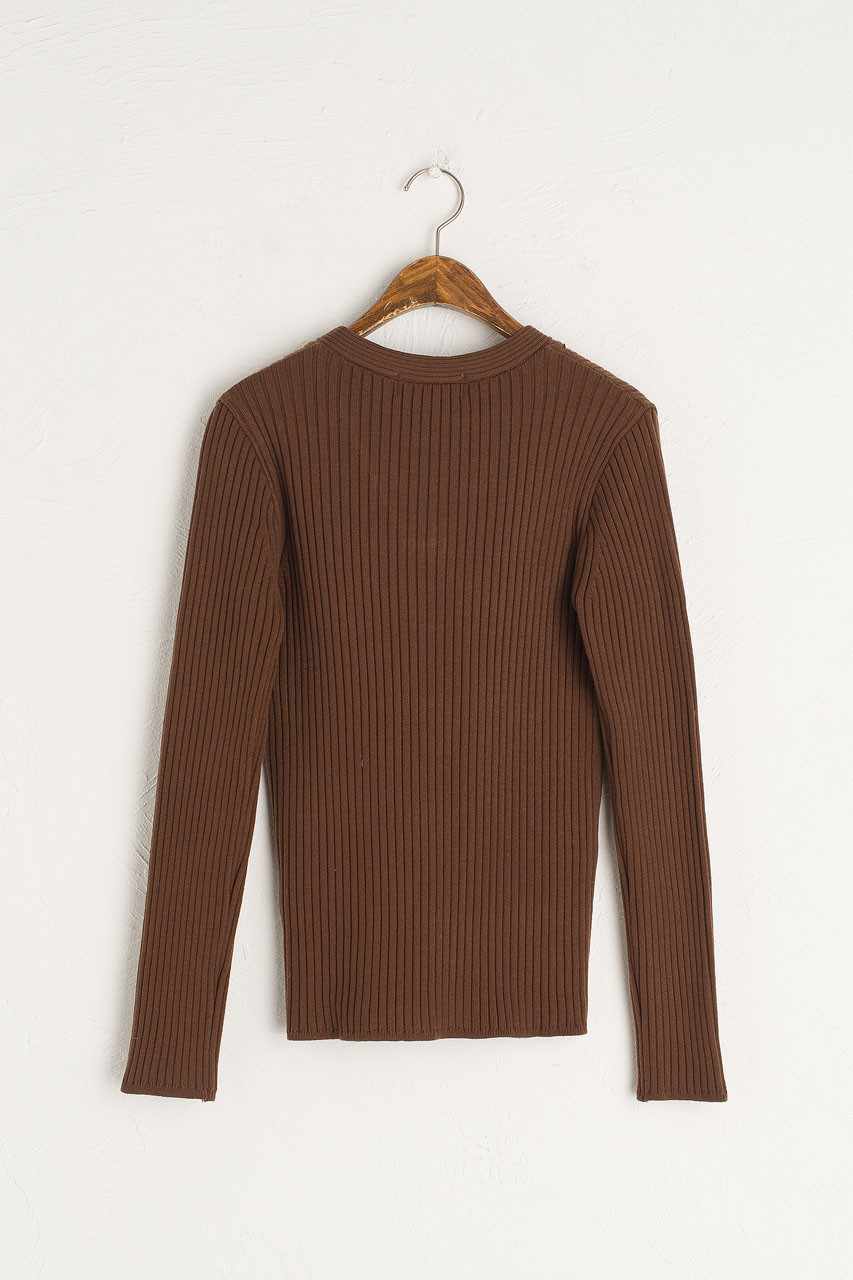 Leah Ribbed V Neck Knit, Brown