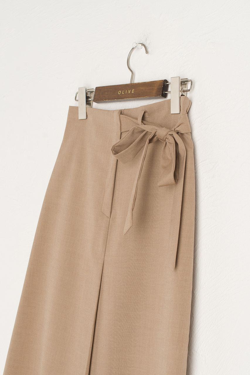 Zoe Wrap Mid Skirt, Beige