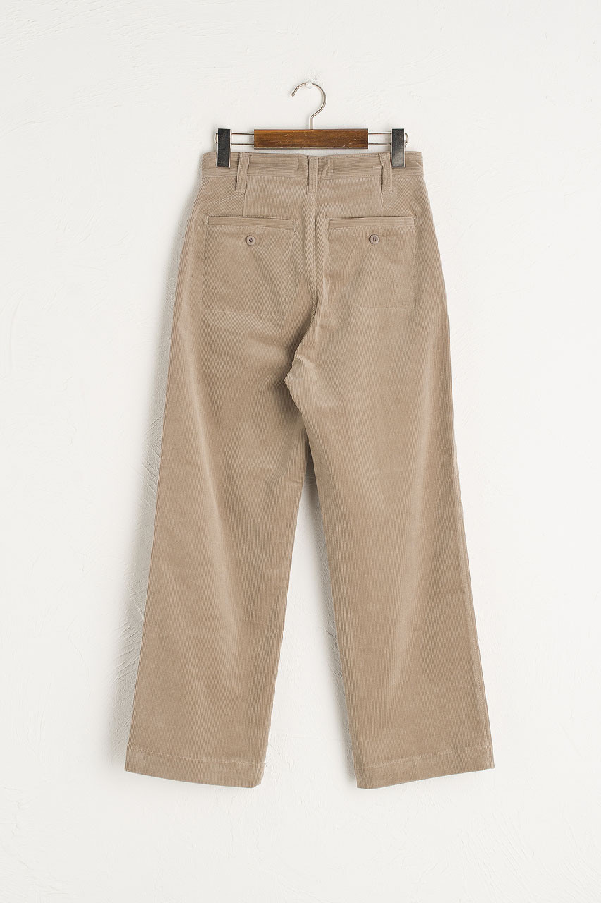 Claudia Simple Cord Pants, Light Grey
