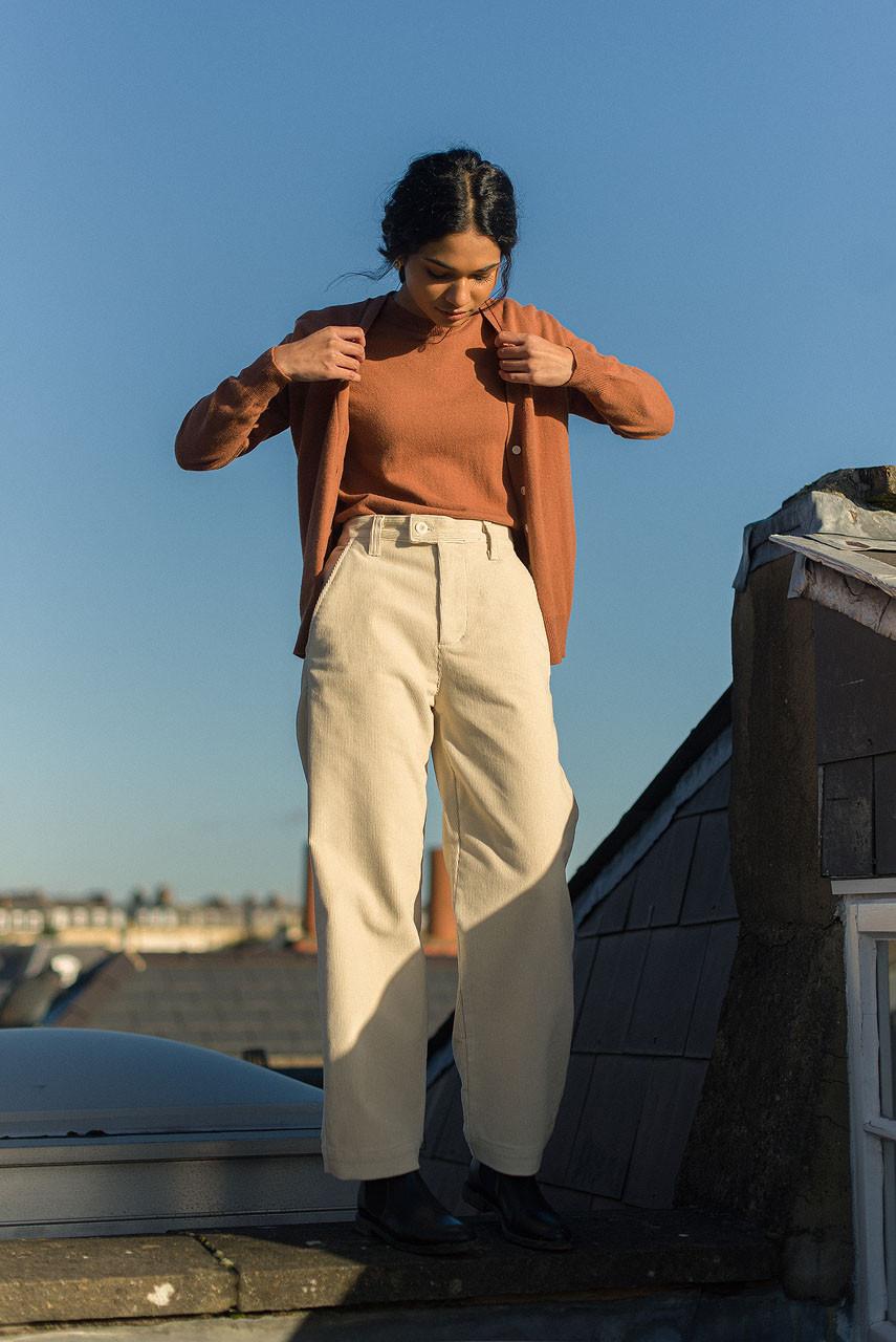 Claudia Simple Cord Pants, Cream