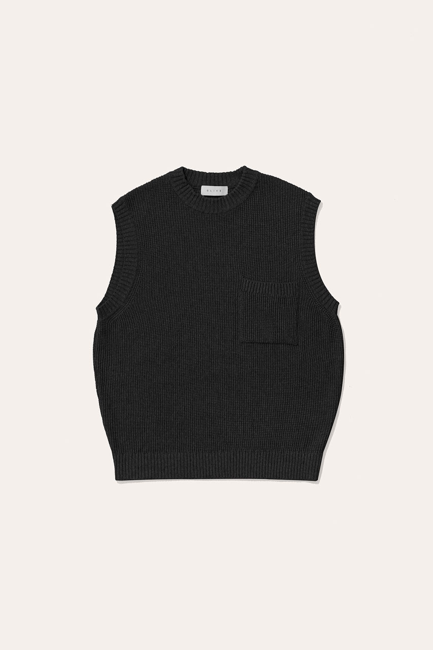Menswear | Fisherman Knit Vest, Black
