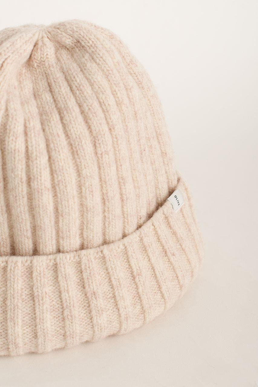 Ribbed Wool Benie, Ivory