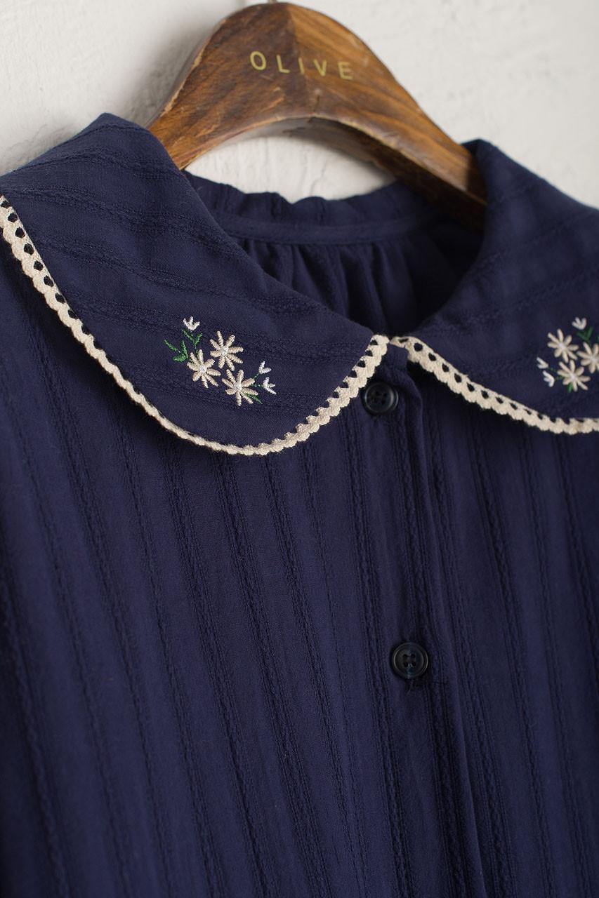 Garden Flower Embroidered Blouse, Navy