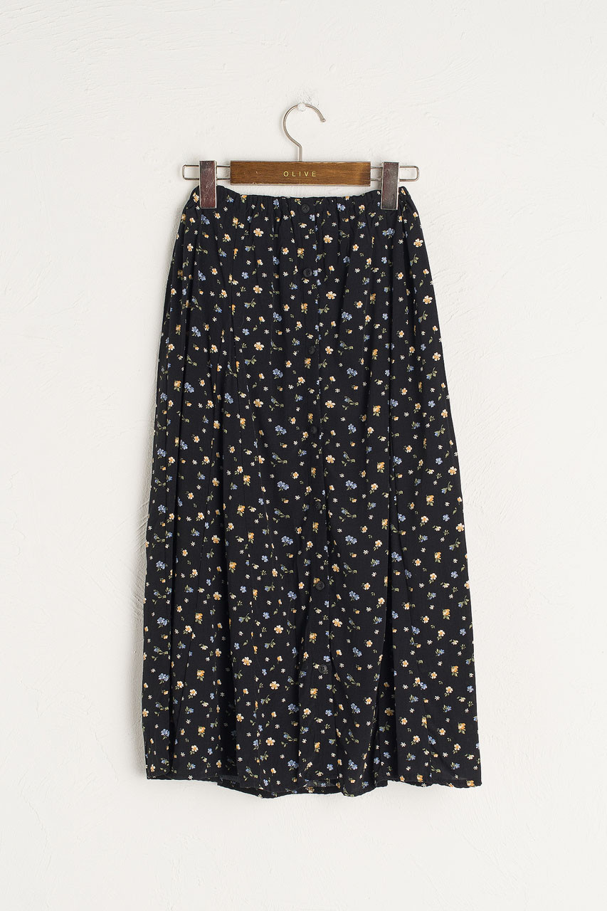 Camille Flower Skirt, Black