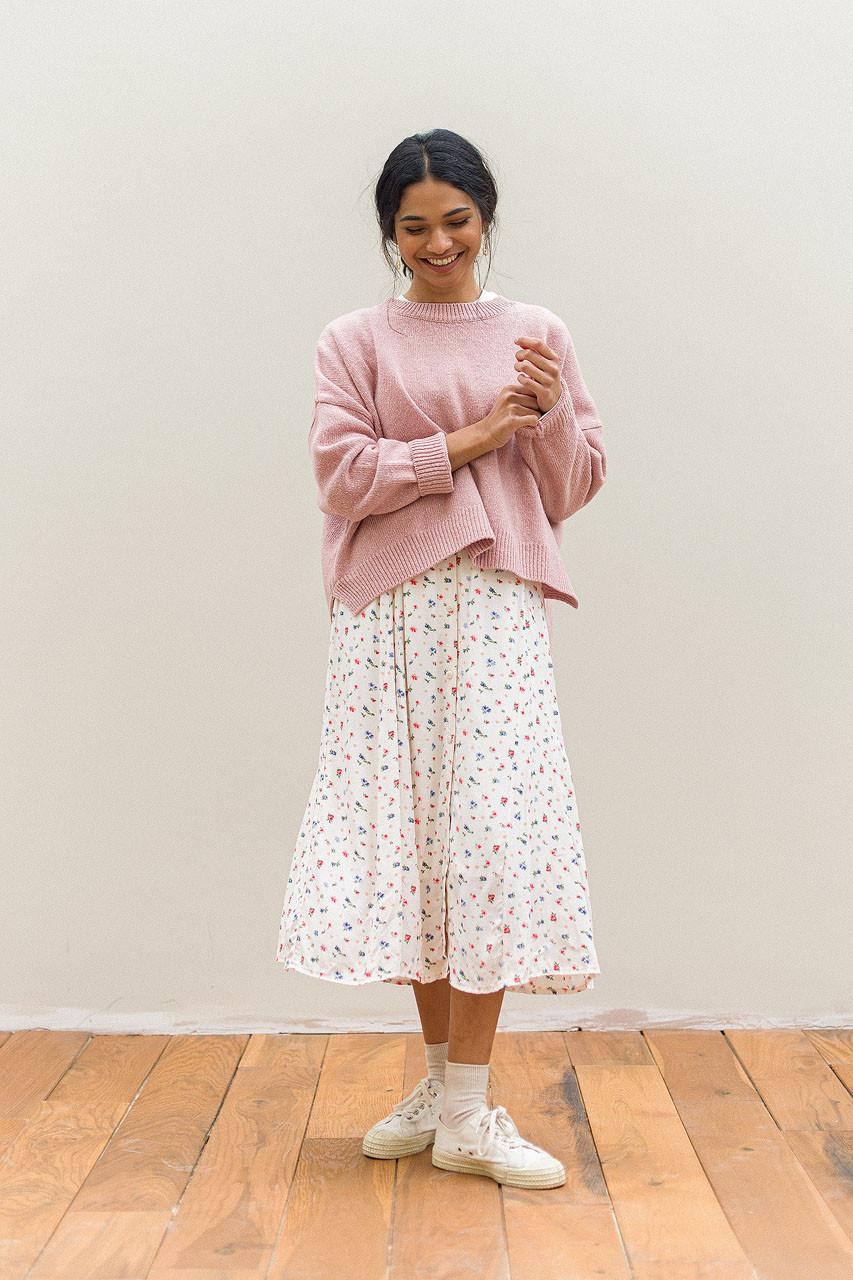 Camille Flower Skirt, Ivory