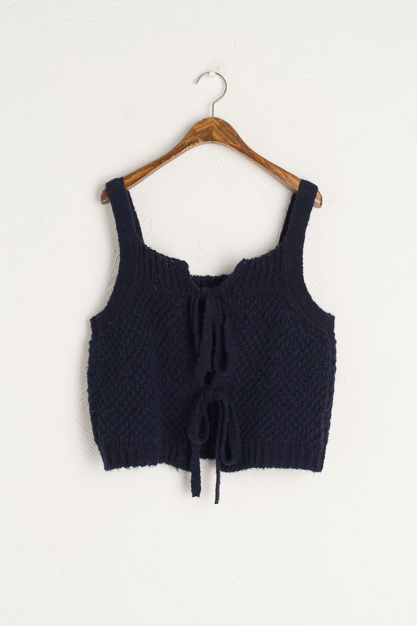 Ribbon Back Knit Cami, Navy