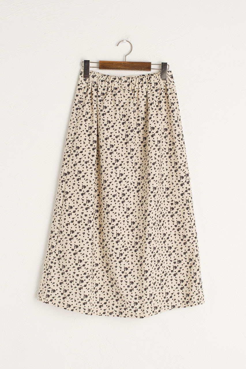 Bette Cord Flower Skirt, Cream