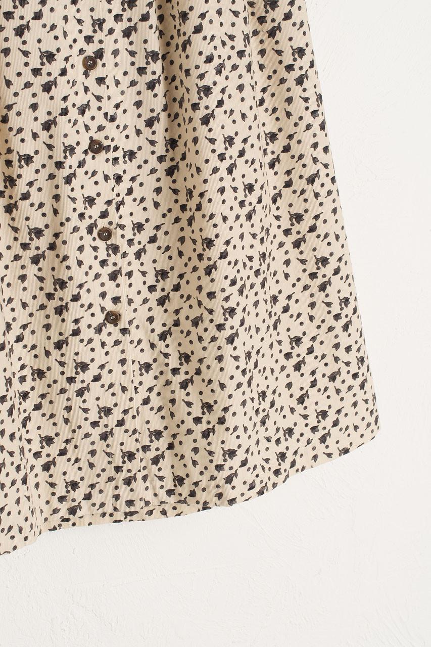 Bette Cord Flower Skirt, Cream