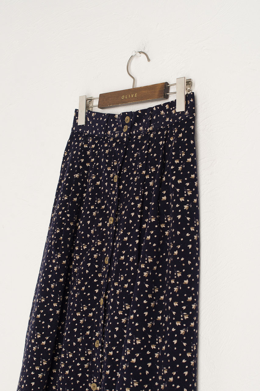 Bette Cord Flower Skirt, Navy