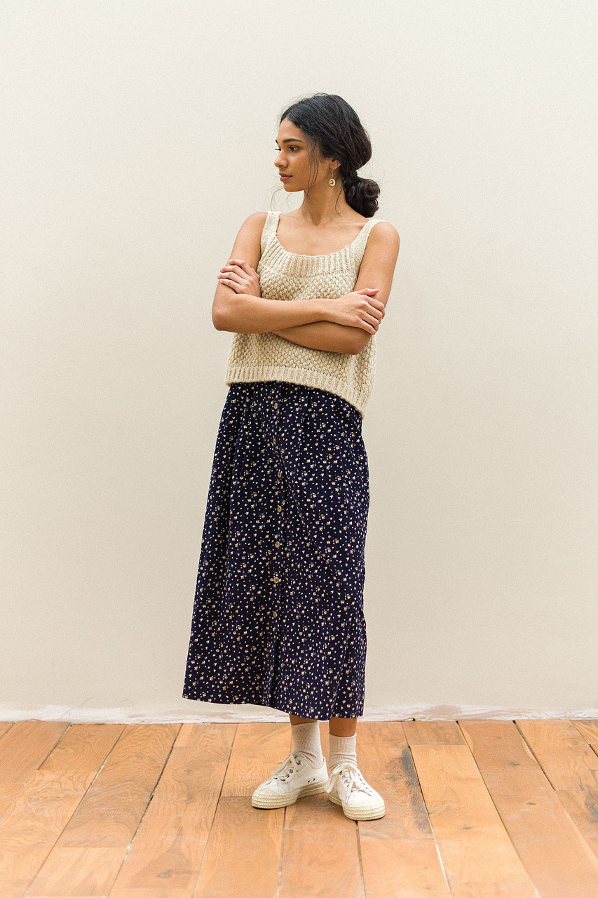 Bette Cord Flower Skirt, Navy