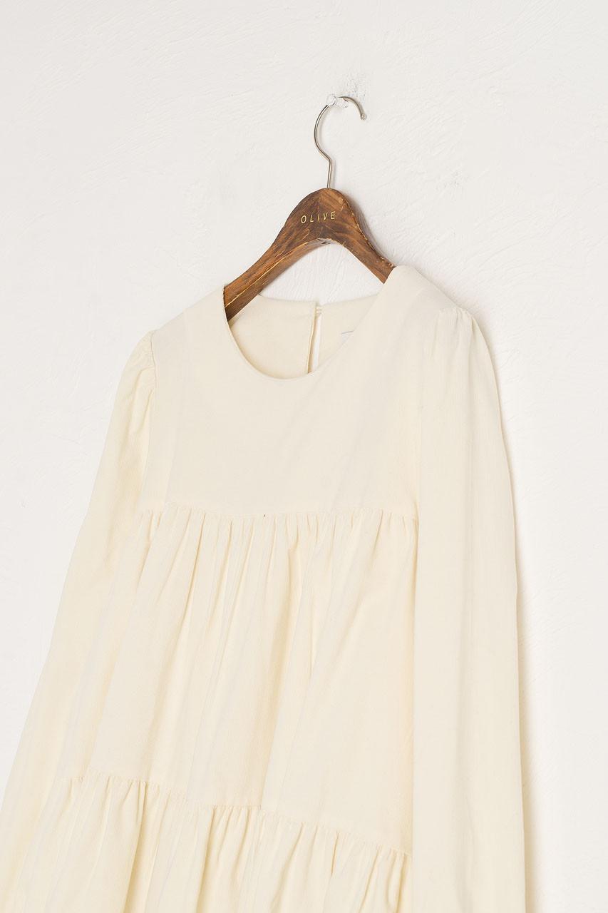 Adalene Cord Tiered Dress, Cream