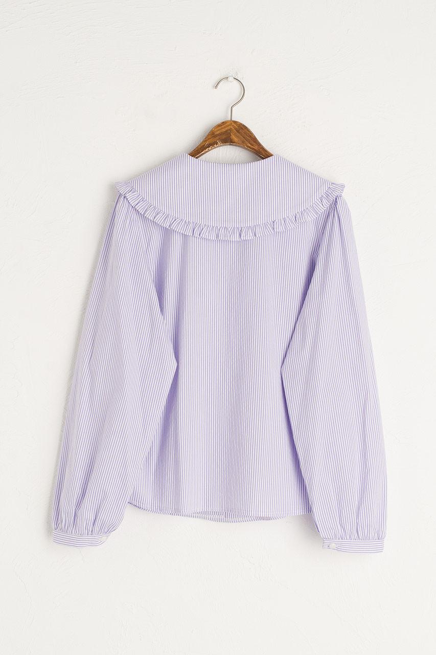 Alison Frill Collar Stripe Blouse, Lilac