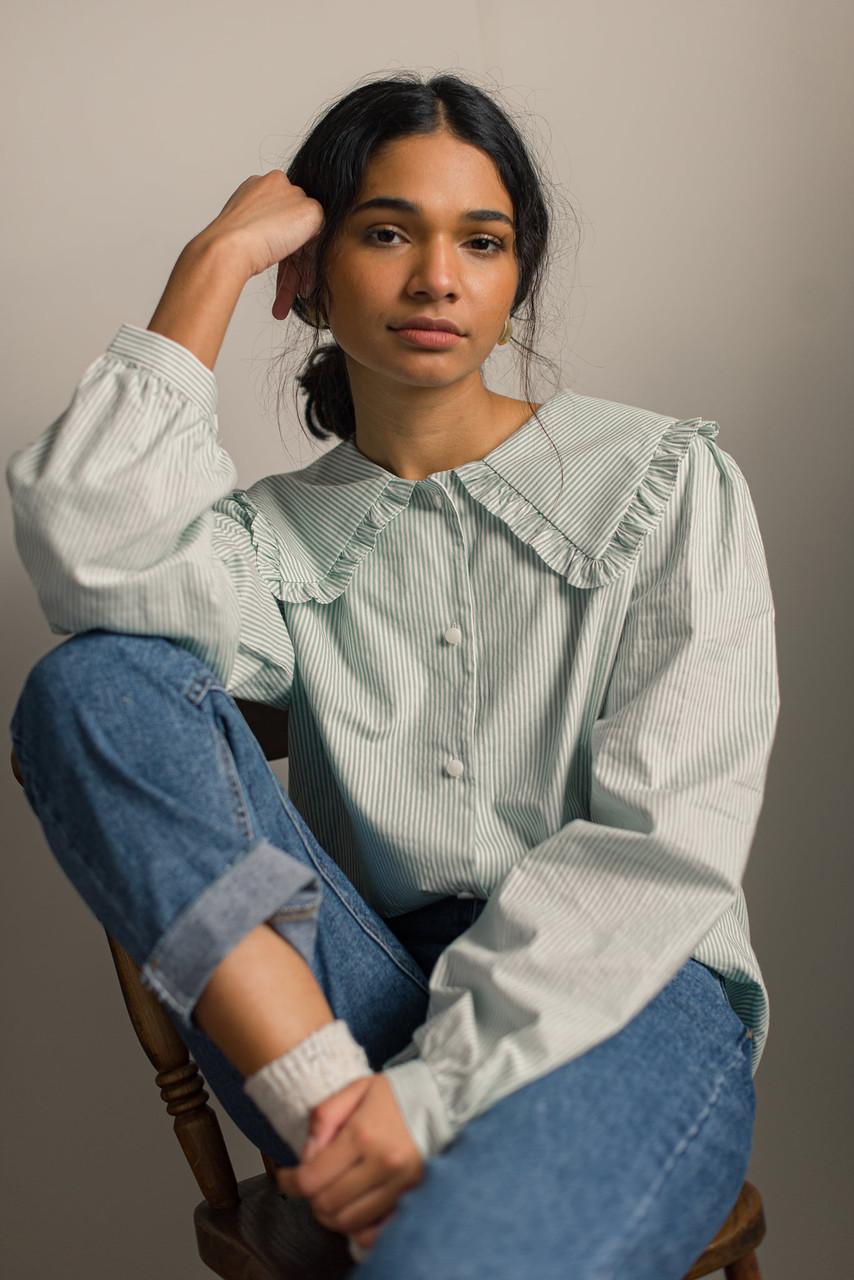 Alison Frill Collar Stripe Blouse, Mint