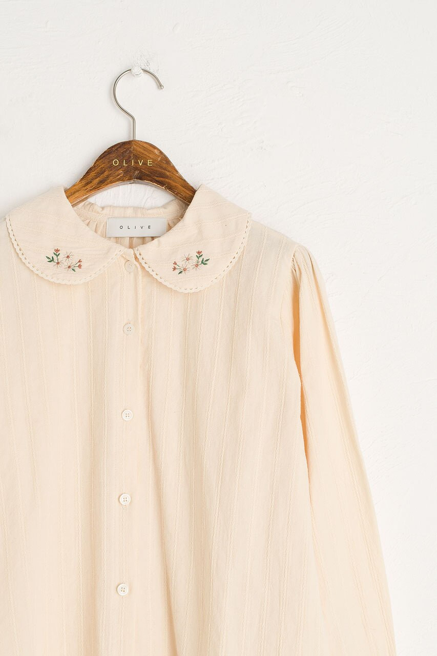 Garden Flower Embroidered Blouse, Ivory