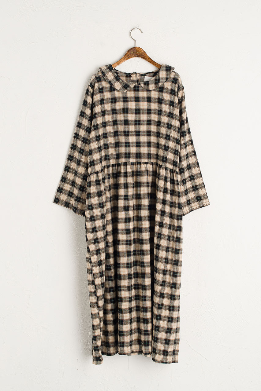 Sophia Boxy Check Dress, Black