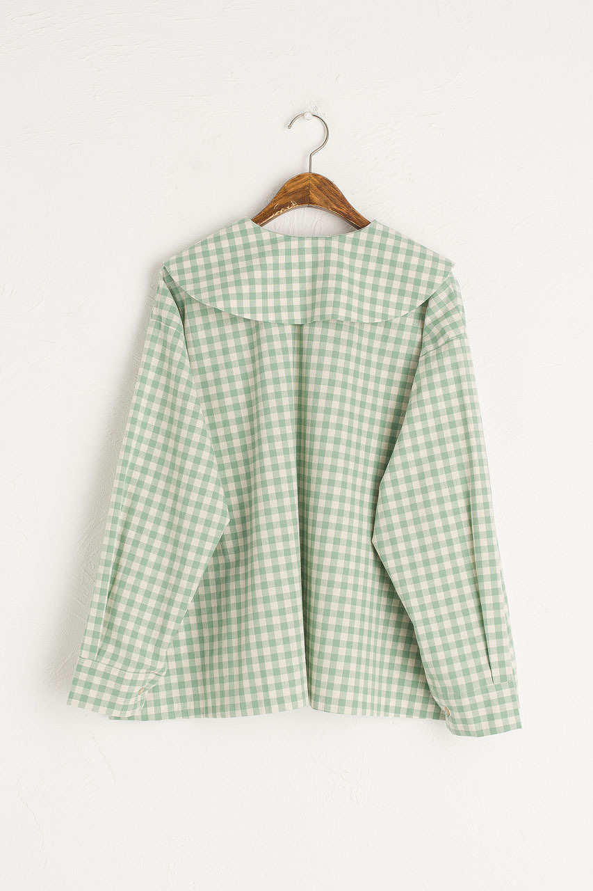 Peter Pan Collar Gingham Blouse, Mint