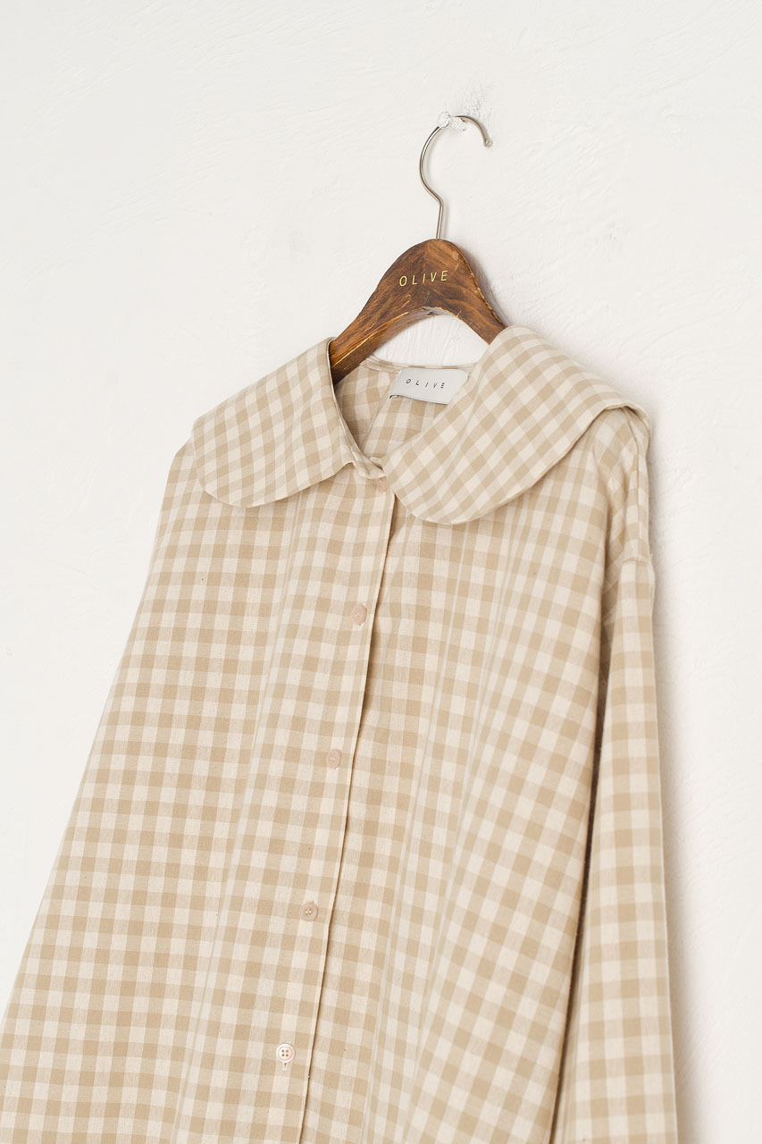 Peter Pan Collar Gingham Blouse, Beige