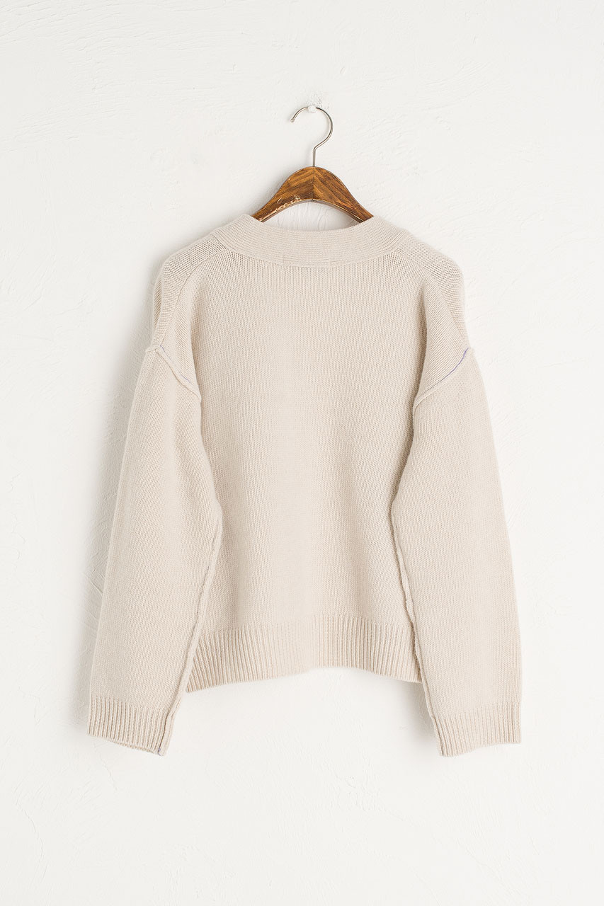 Stitch Point Cardigan, Light Beige