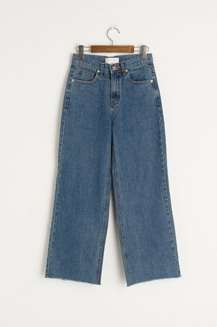 Raw Cut Wide Jean, Mid Blue