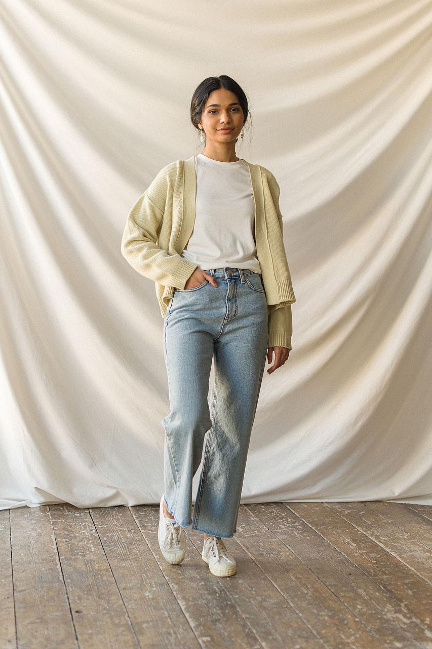 Moa Raw Cut Semi Wide Jean, Light Blue