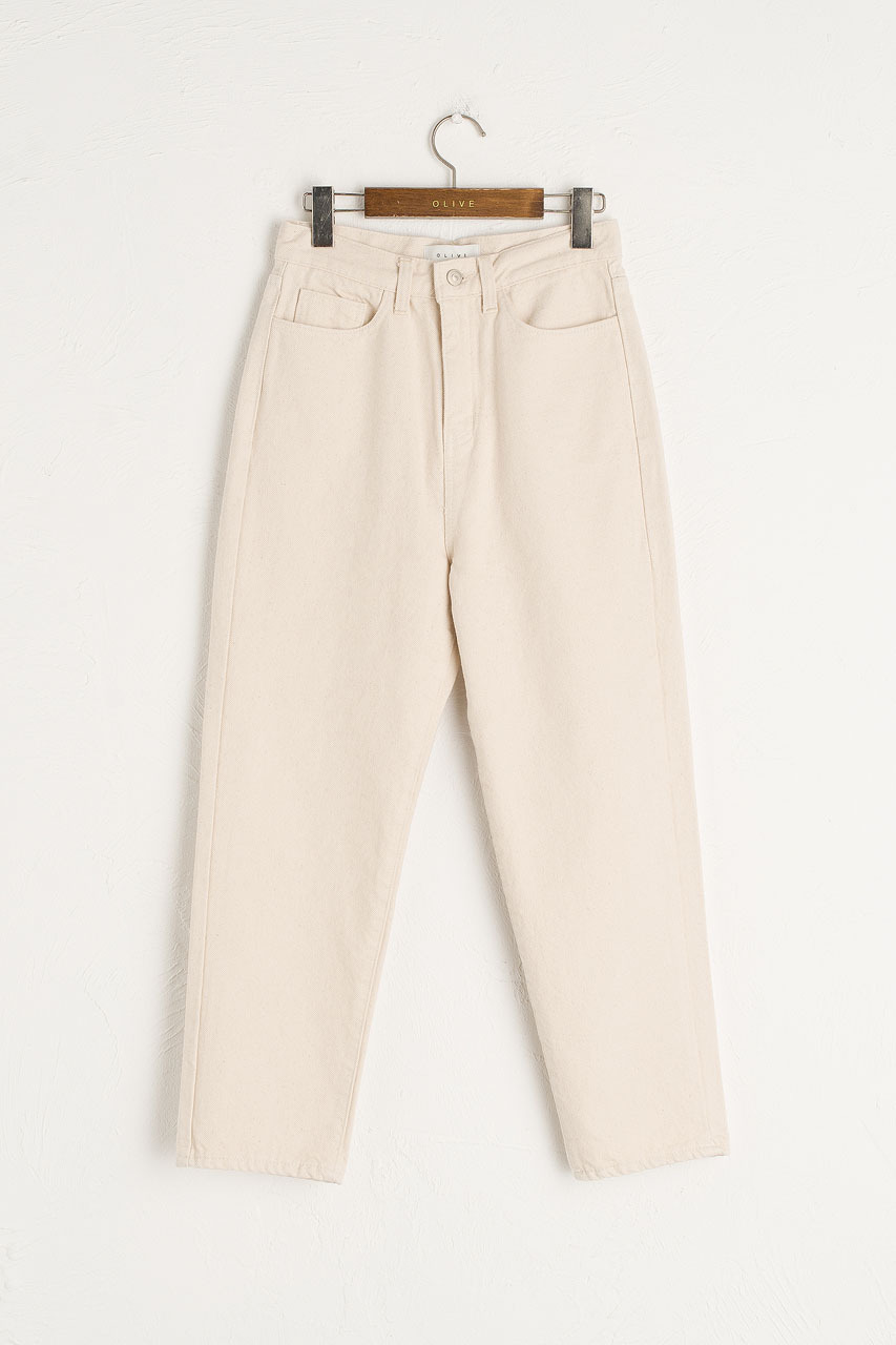 Moa Washed Straight Denim Jean, Cream