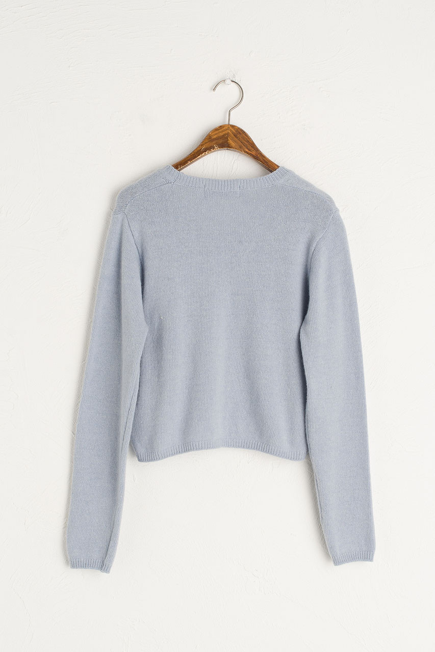 V Neck Soft Crop Cardigan, Blue