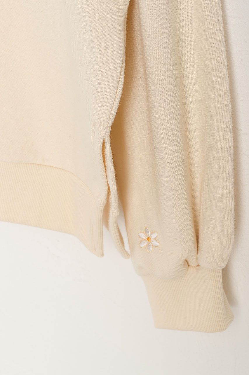 White Lilac Embroidery Sweatshirt, Ivory