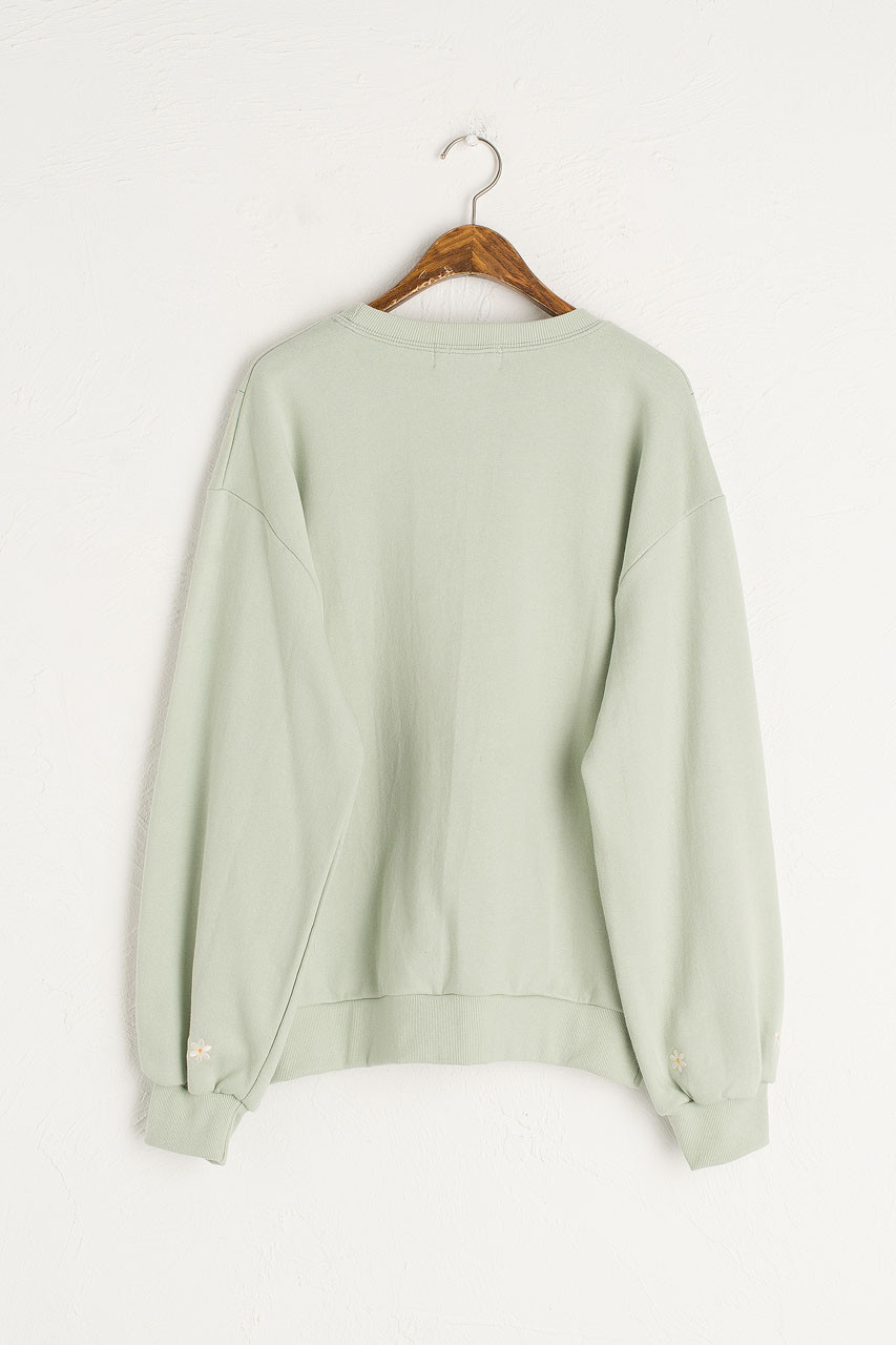 White Lilac Embroidery Sweatshirt, Mint