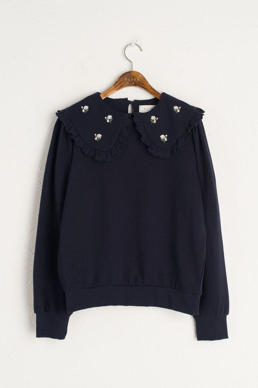 Wild Daisy Embroidered Sweatshirt, Navy