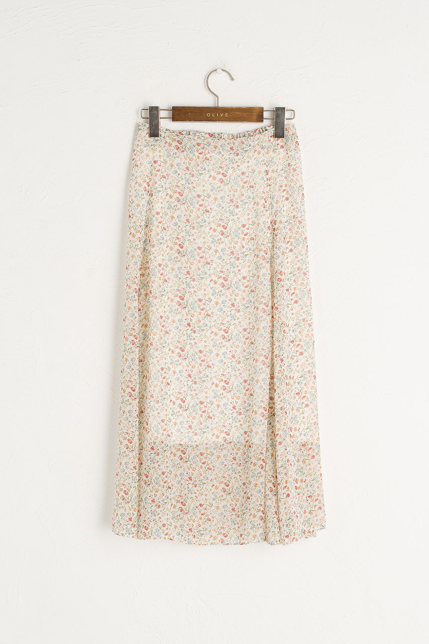 Sana Floral Print Skirt, Ivory