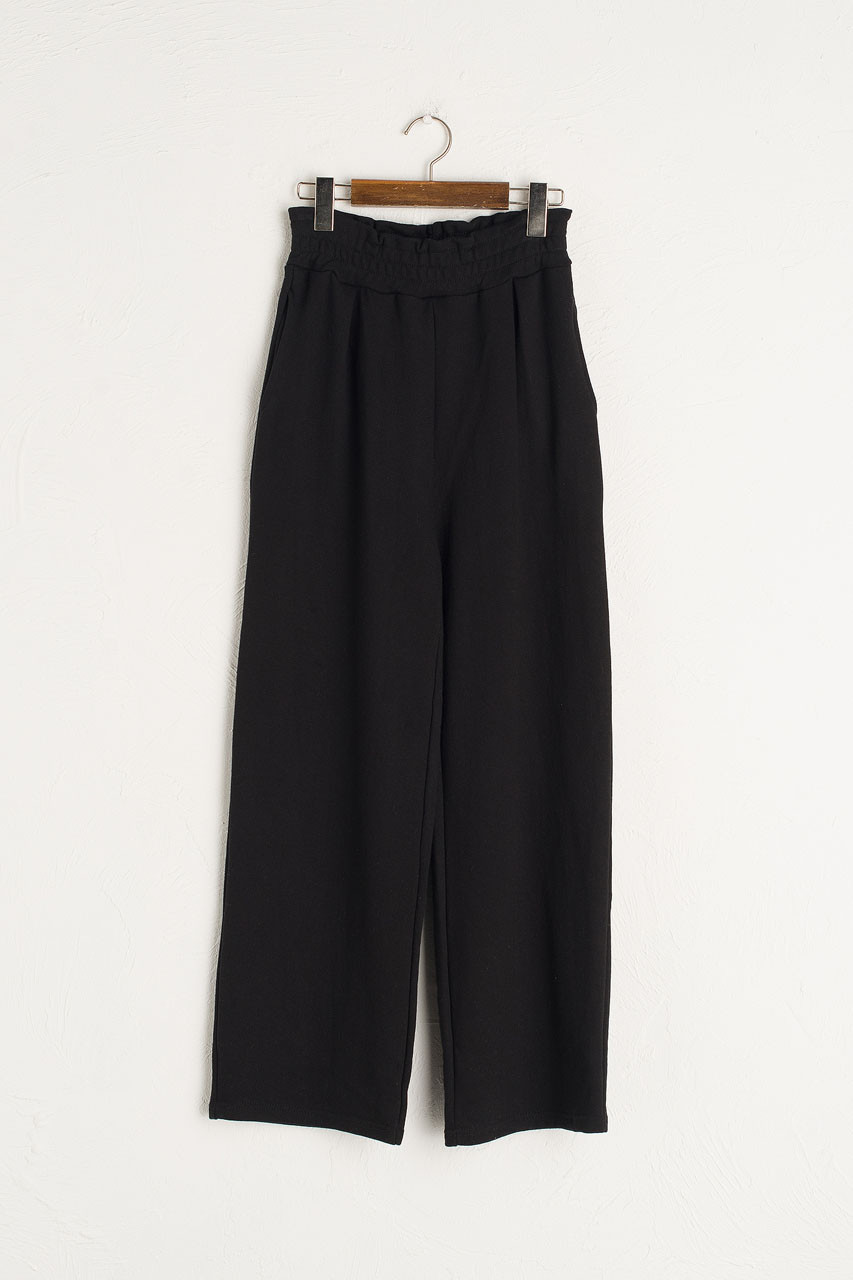 Wide Cotton Training Trousers, Black