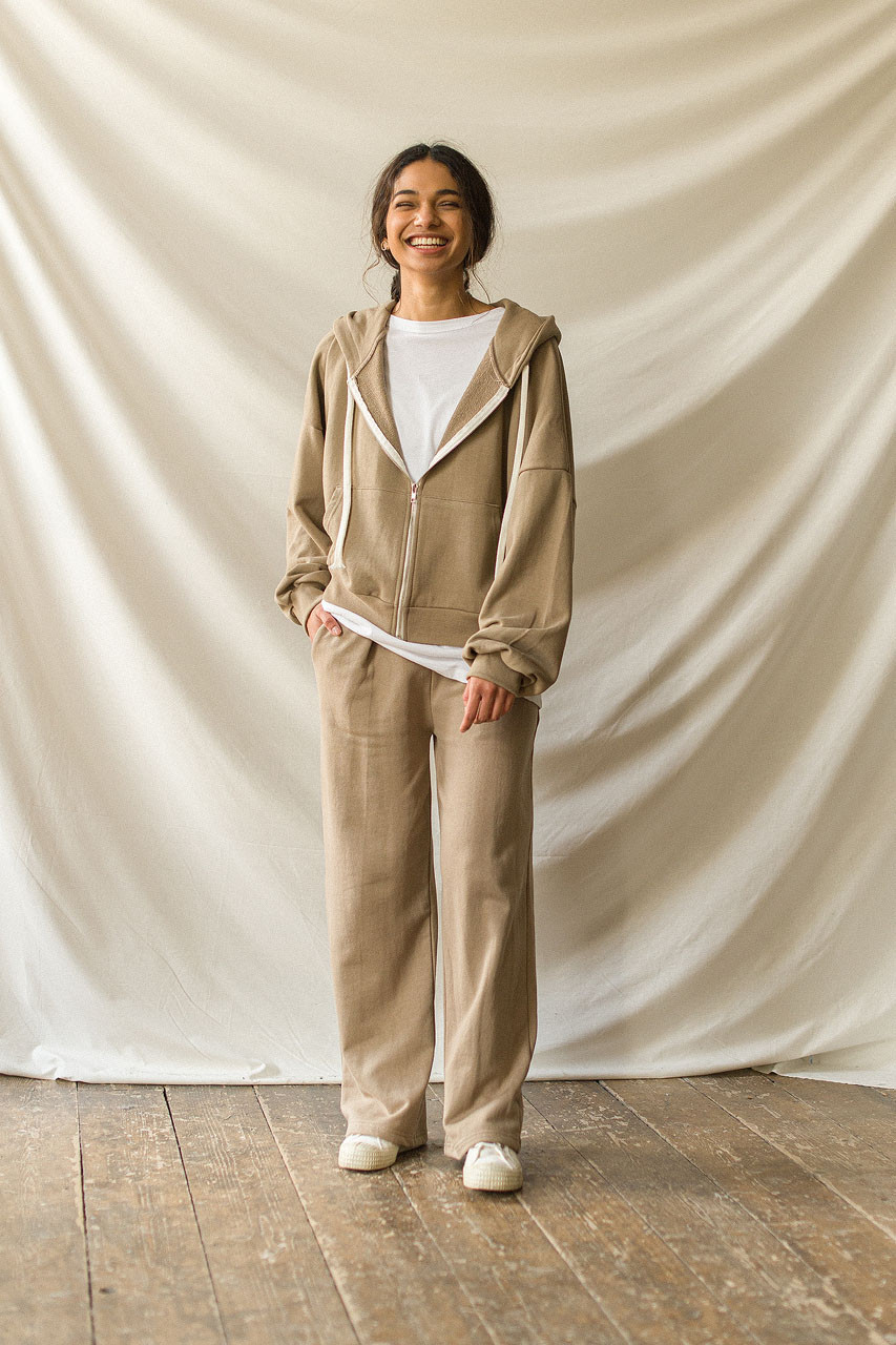 Wide Cotton Training Trousers, Sand