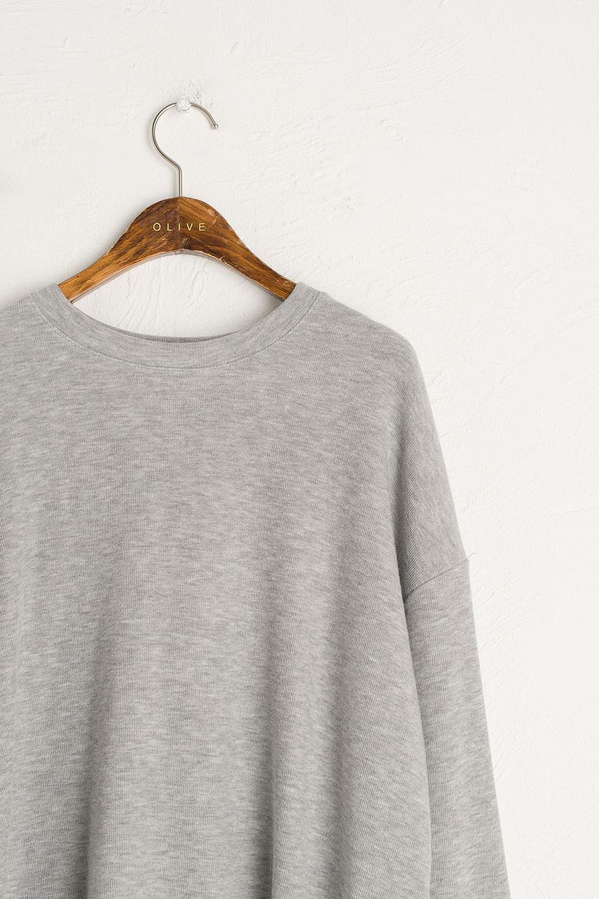 Slouch Tee & Wide Trousers Set, Melange Grey