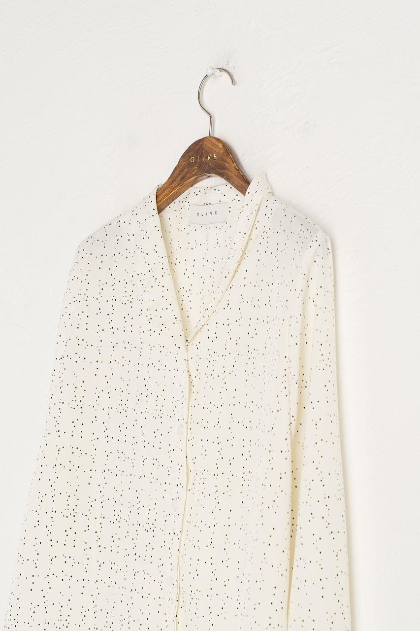 Constellation Mini Collar Blouse, Ivory