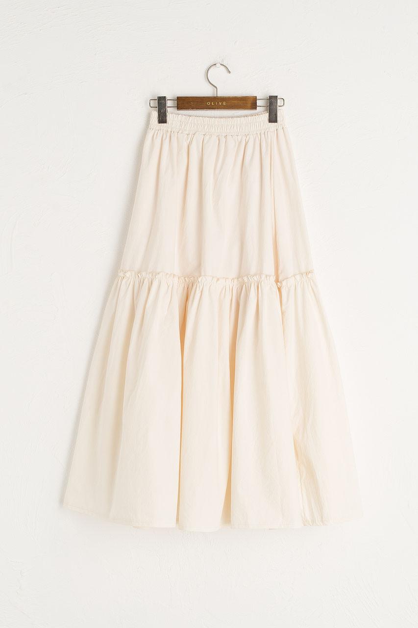 Roa Frill Long Cotton Skirt, Ivory