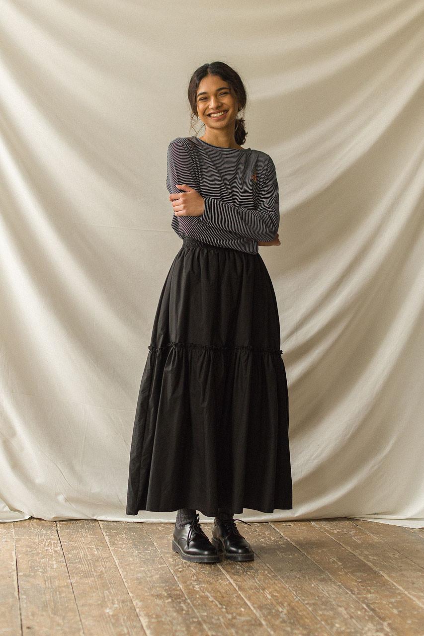 Roa Frill Long Cotton Skirt, Black