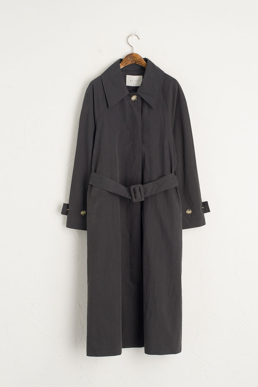 Roa Belted Trench Coat, Charcoal