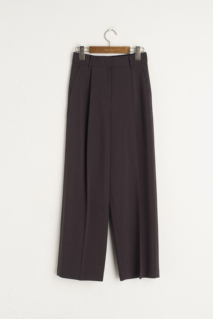 Darcey Simple Pleated Trousers, Charcoal