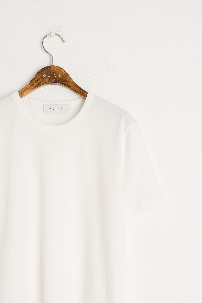 Washed Cotton Crew Neck Tee, Ivory