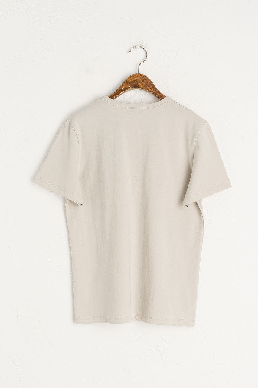 Washed Cotton Crew Neck Tee, Khaki Grey