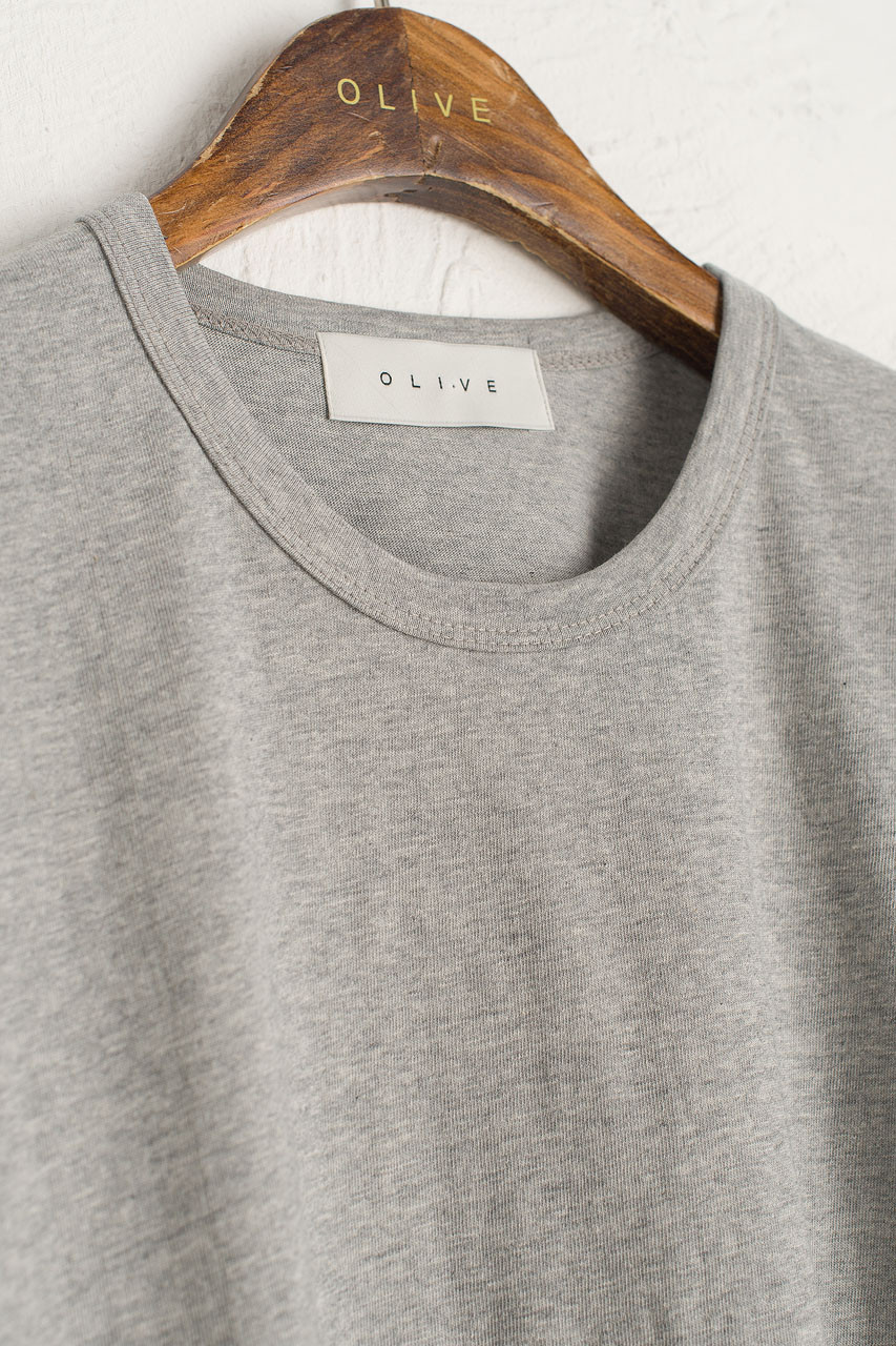 Washed Cotton Crew Neck Tee, Grey