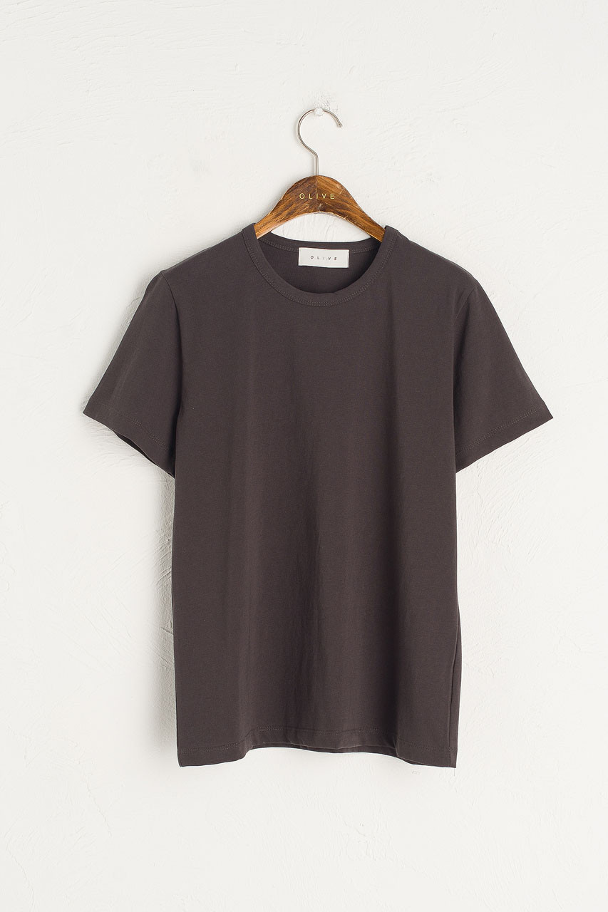 Washed Cotton Crew Neck Tee, Charcoal